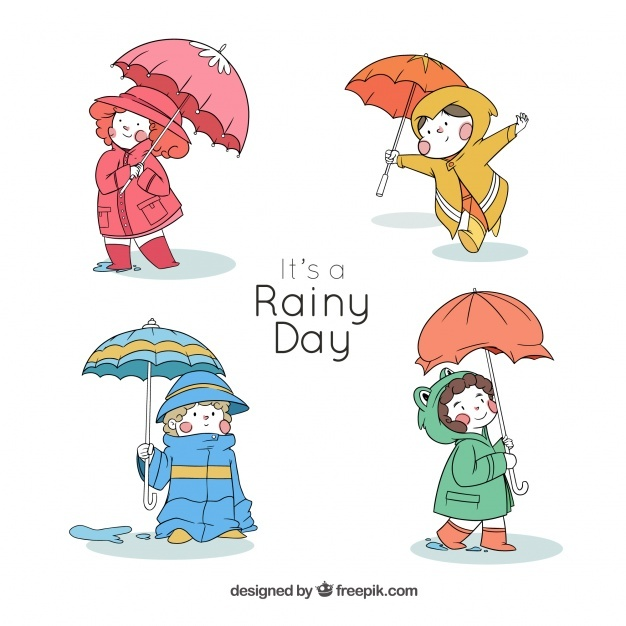 Four lovely kids with hand drawn umbrella