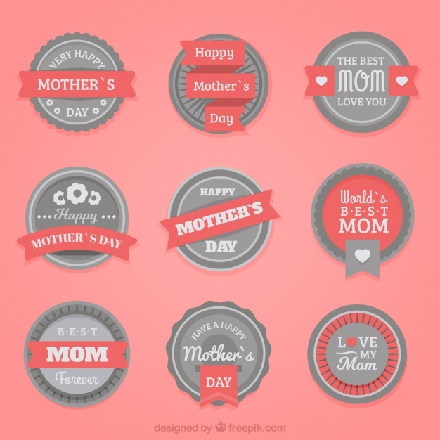 Collection of mother's day badges with red details
