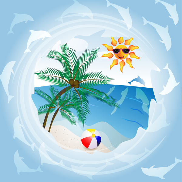 Free AI file Round summer travel background vectors 02 download