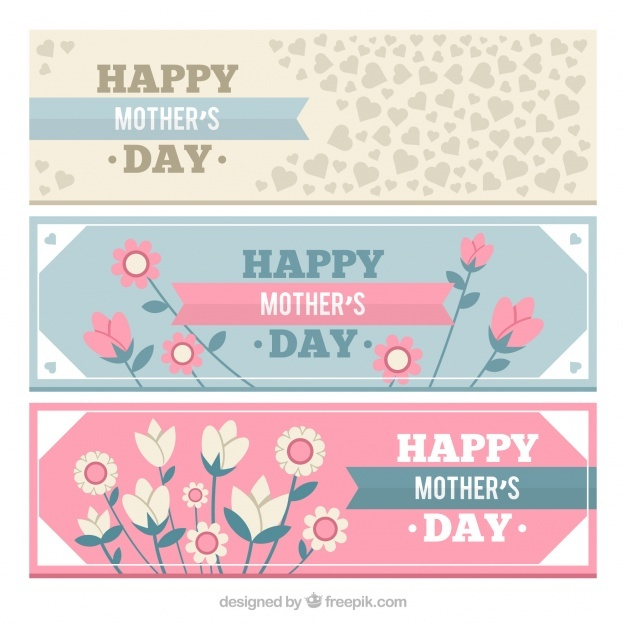 Set of three mother's day banners with floral decoration and hearts