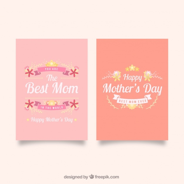 Greeting cards with pretty flowers for mother's day