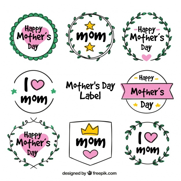 Selection of mother's day labels in hand-drawn style