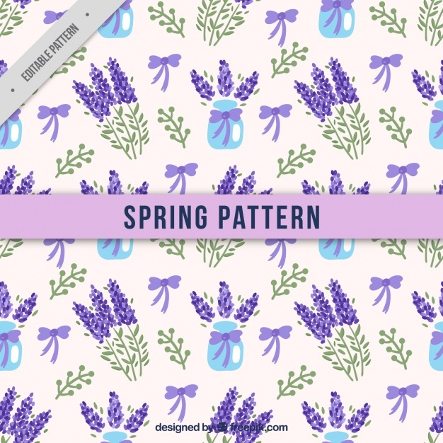 Watercolor pattern of lavender with bows