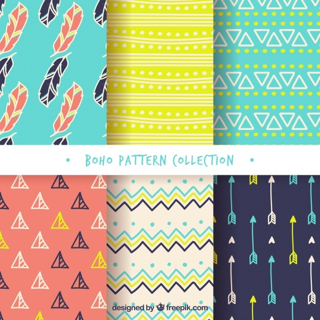 Assortment of colored boho patterns