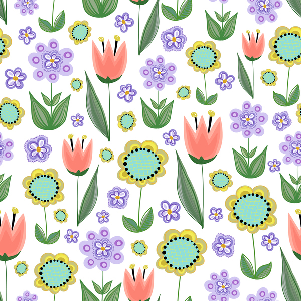 Free EPS file Sunflower with purple flower seamless pattern vectors download