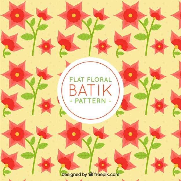 Batik pattern with pretty flowers