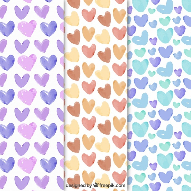 Set of watercolor hearts patterns