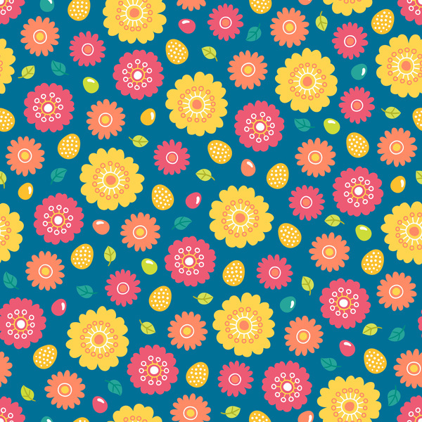 Free EPS file Cute easter seamless pattern design vector 12 download