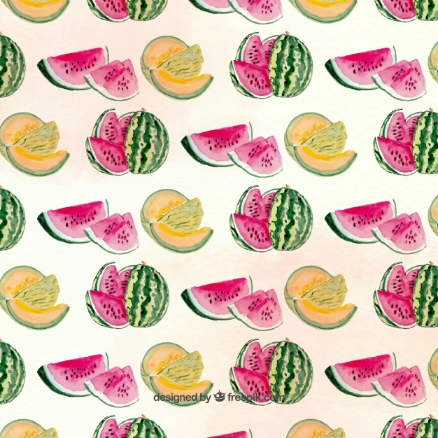 Pretty pattern with melons and watermelons
