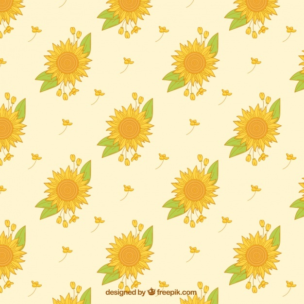 Decorative pattern of sunflowers and hand drawn leaves