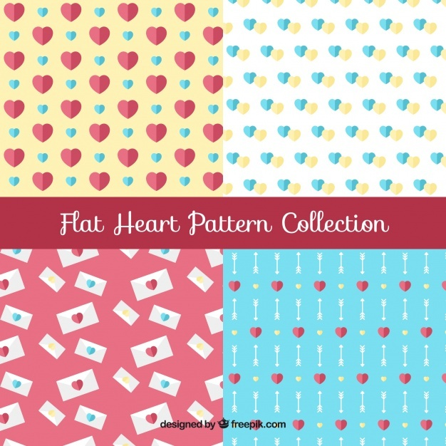Hearts pattern in flat design