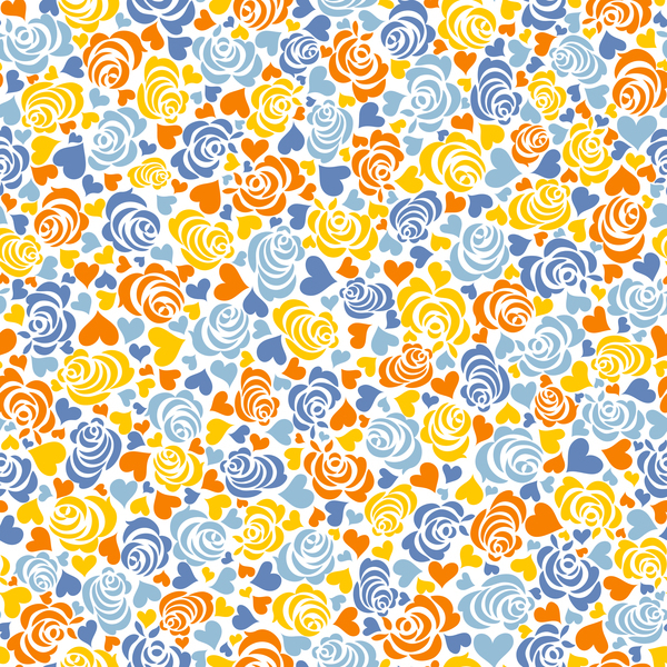 Free EPS file Floral with heart seamless pattern vectors download