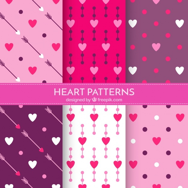 Set of hearts patterns with arrows and polka dots