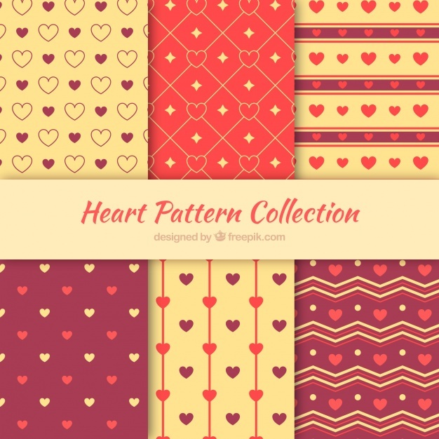 Set of decorative patterns with hearts
