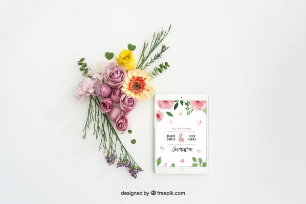 Tablet mockup design with floral decoration