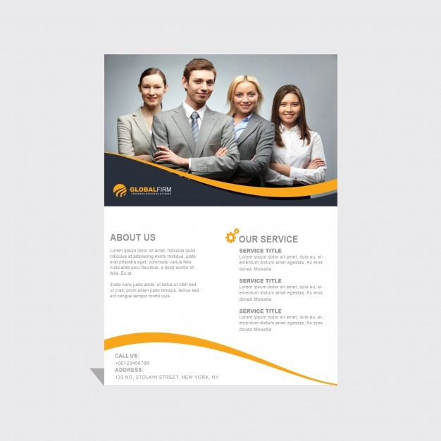 Leaflet template with yellow wavy lines
