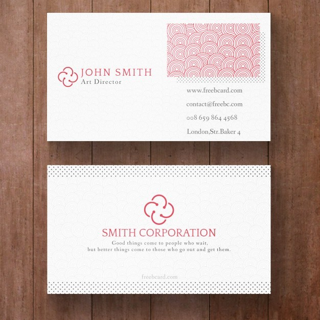 Elegant white and red corporate card