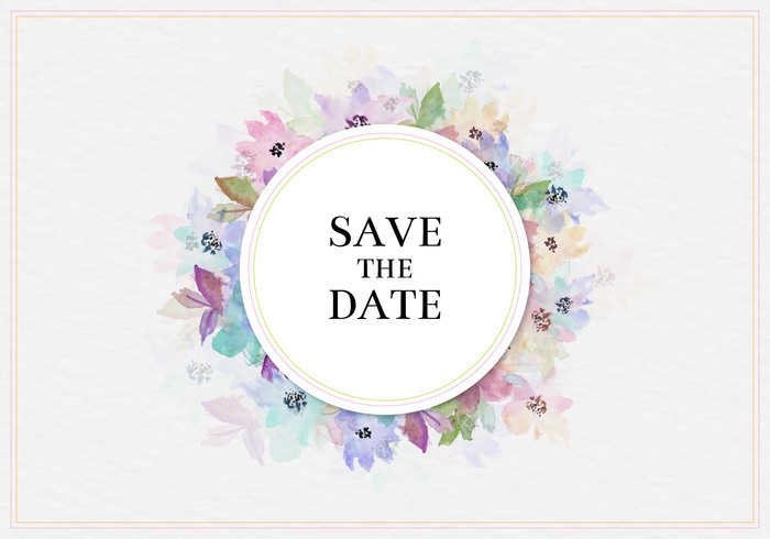 Free Vector Save The Date Watercolor Floral Frame