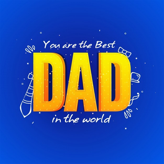 Happy Father's Day celebration greeting card design with 3D Text Dad on blue background