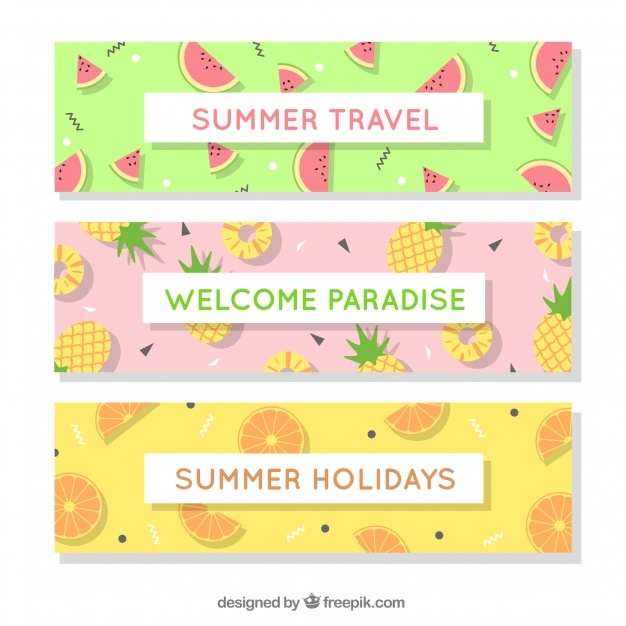 Set of three summer banners with variety of fruits
