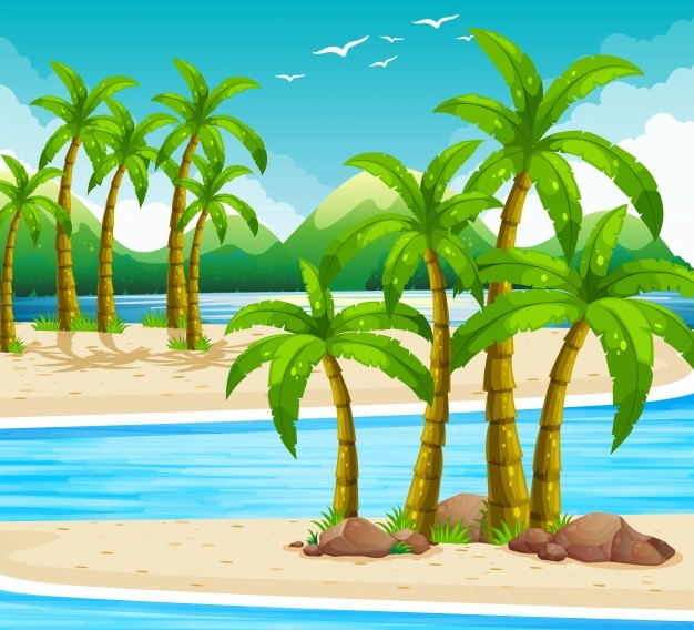 Beach view at daytime illustration