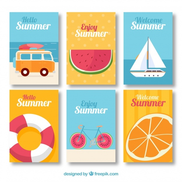 Flat summer card set