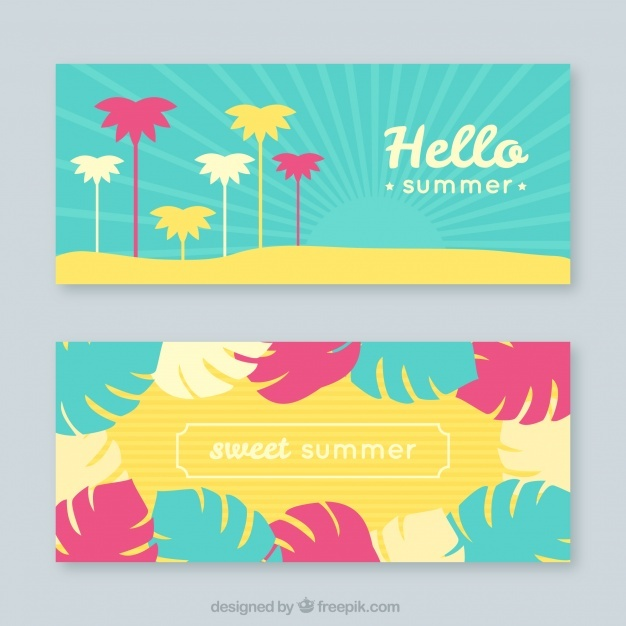Great banners with palm trees and leaves in flat design