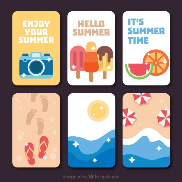 Variety of flat summer cards