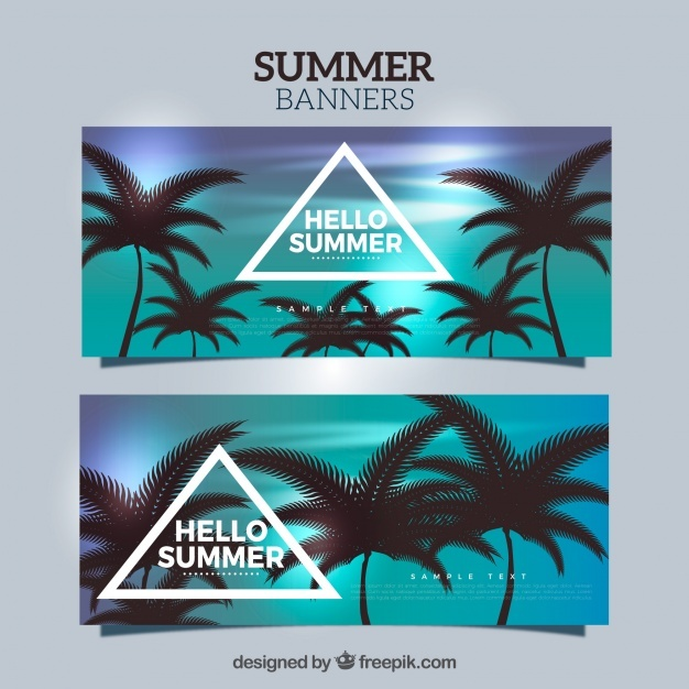 Realistic banners with dark palm trees