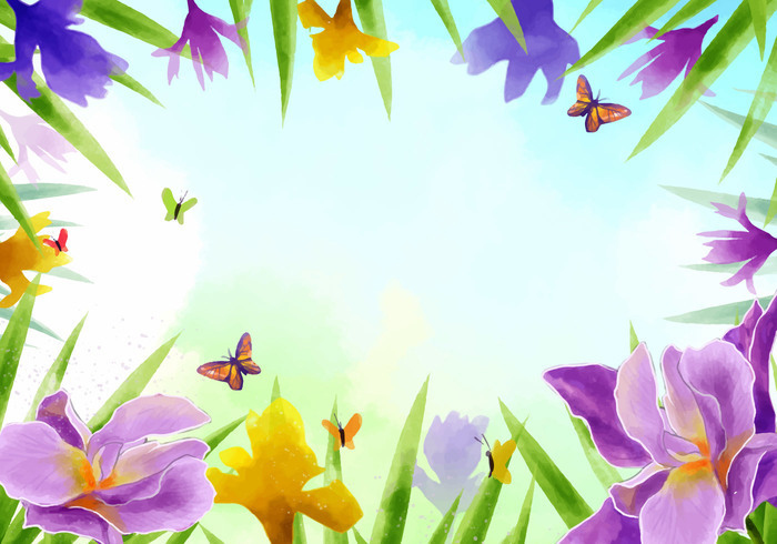 Frame of Iris Flowers Vector