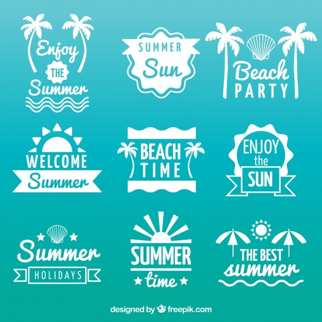 Collection of nice summer stickers