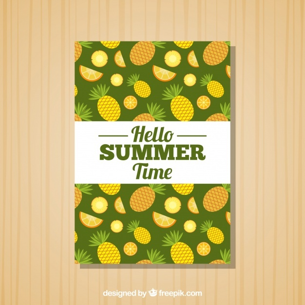Summer card with pineapples and orange slices