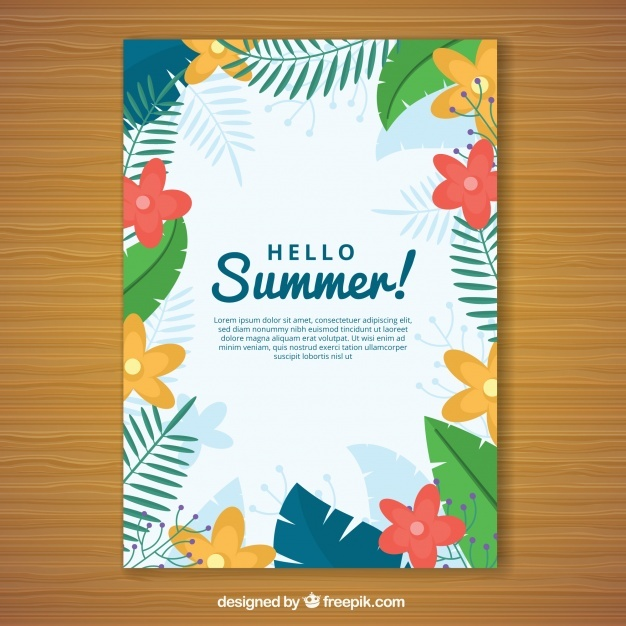 Summer card with colored flowers