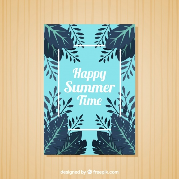 Blue summer card with leaves
