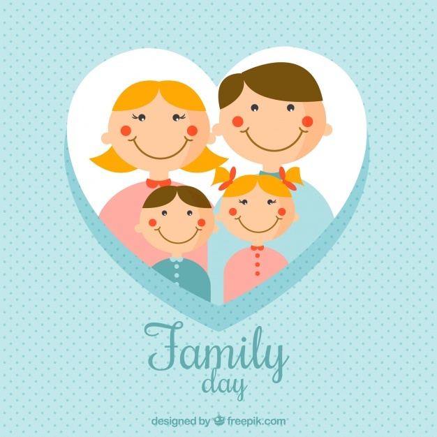 Blue dotted background with happy family members