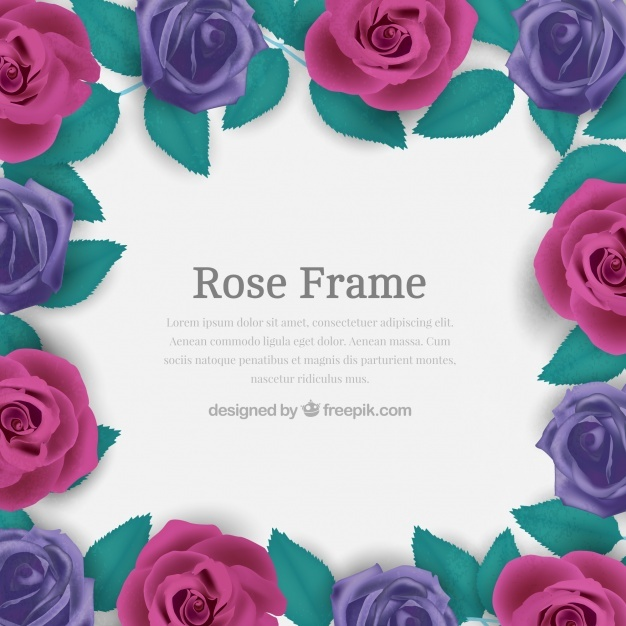 Frame of purple roses in realistic design