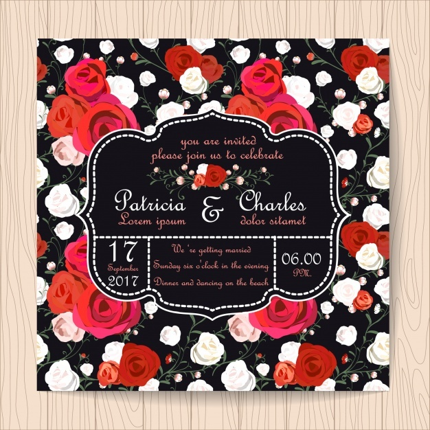 Wedding invitation with roses pattern background