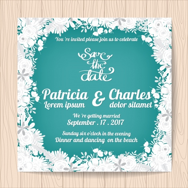 Wedding invitation with white flowers frame