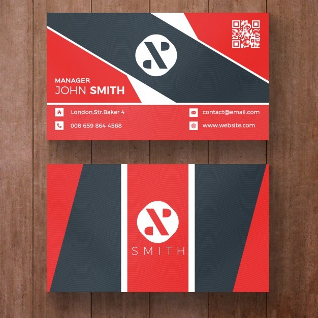 Red and black corporate business card