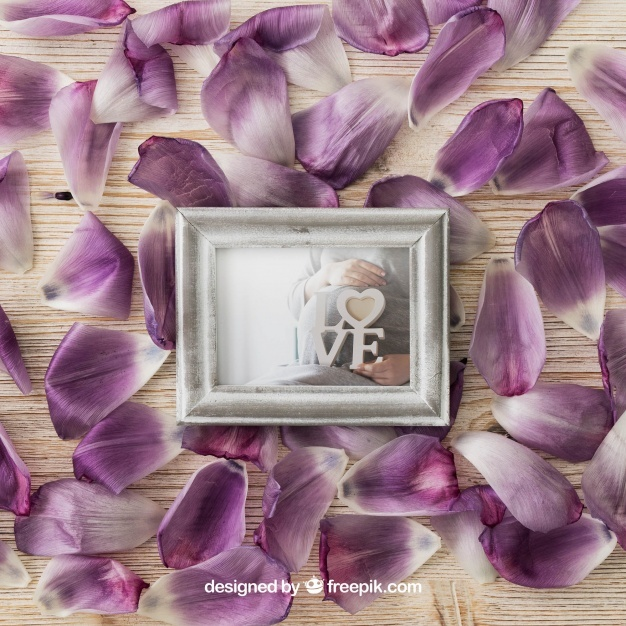 Photo frame on petals