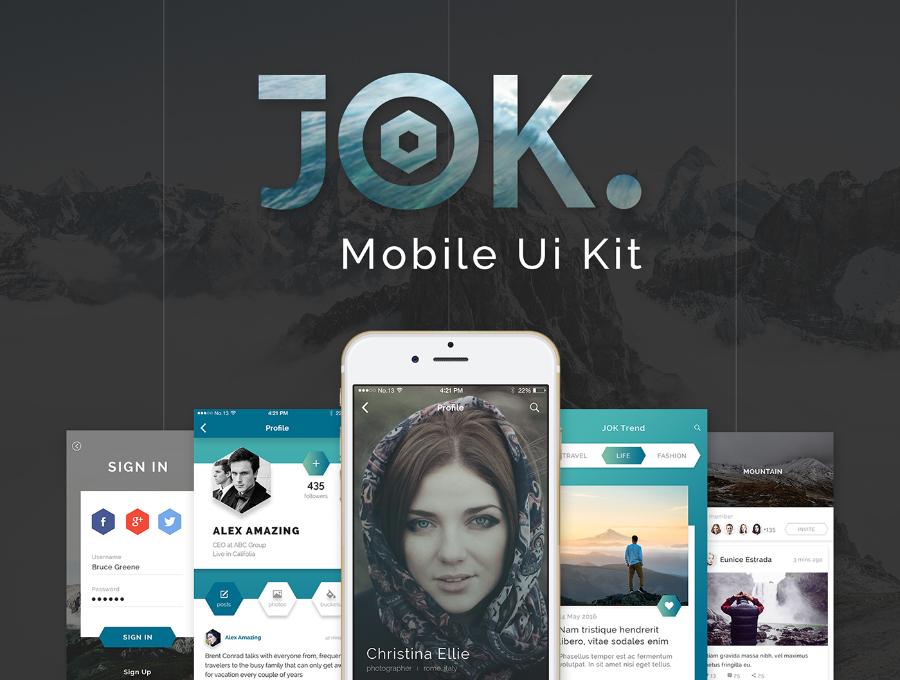 JOK Mobile UI Kit Free Demo