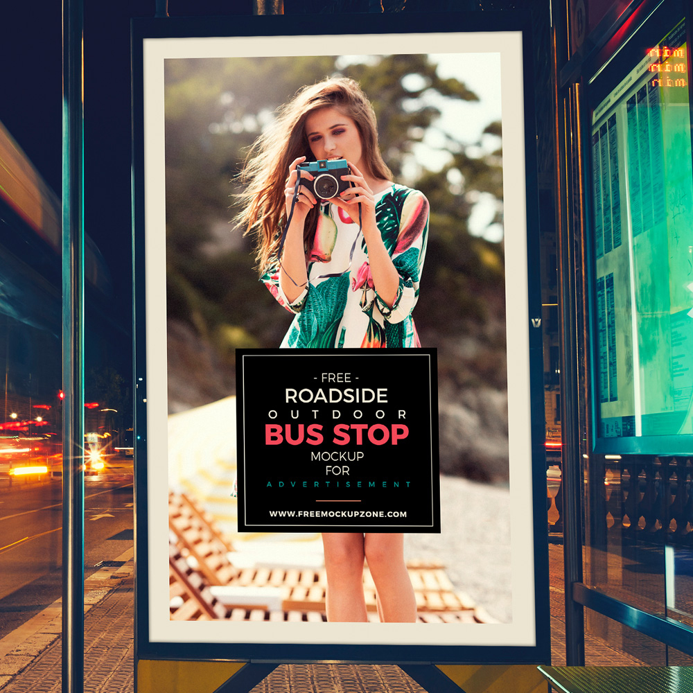Free Psd Outdoor Bus Stop Billboard MockUp