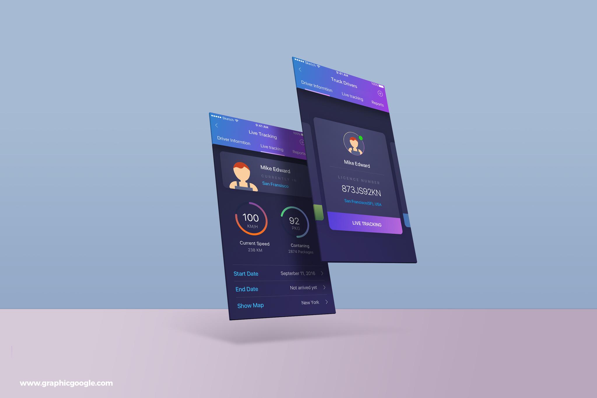 Free PSD App Screens MockUp Template