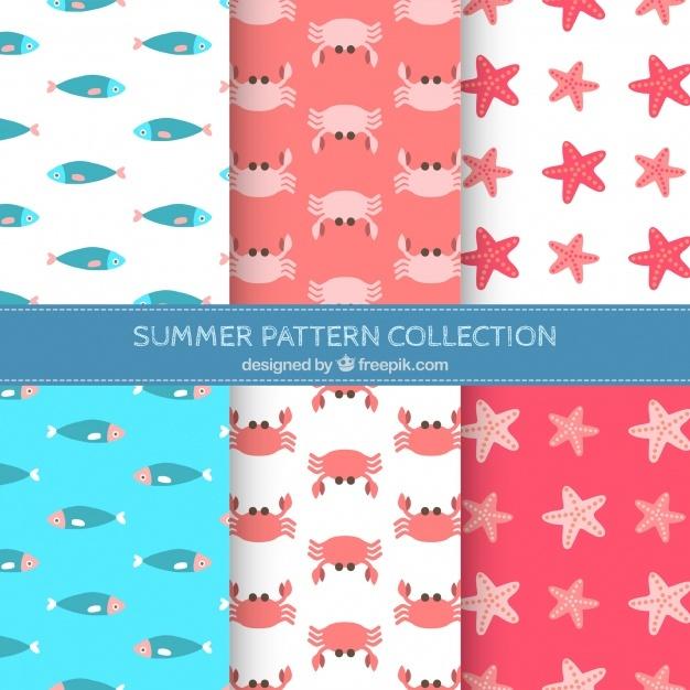 Decorative patterns pack of marine animals