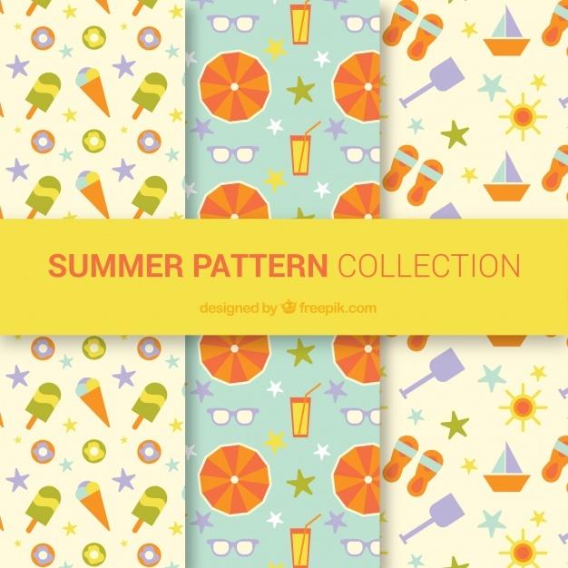 Set of nice summer patterns in flat design