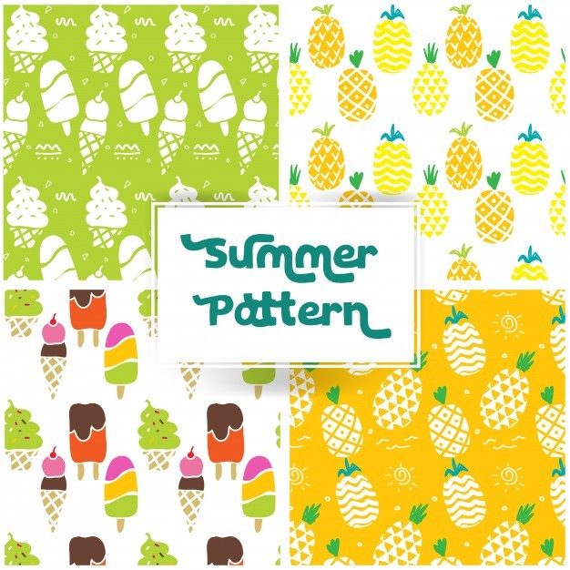 Summer pattern with pineaple and ice cream