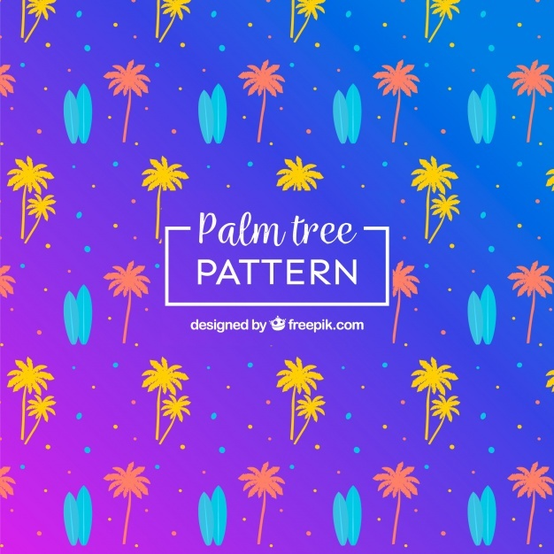 Colorful pattern of palm trees