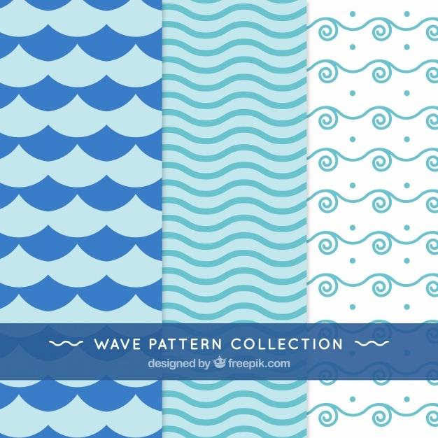 Set of three wave patterns with minimalist design