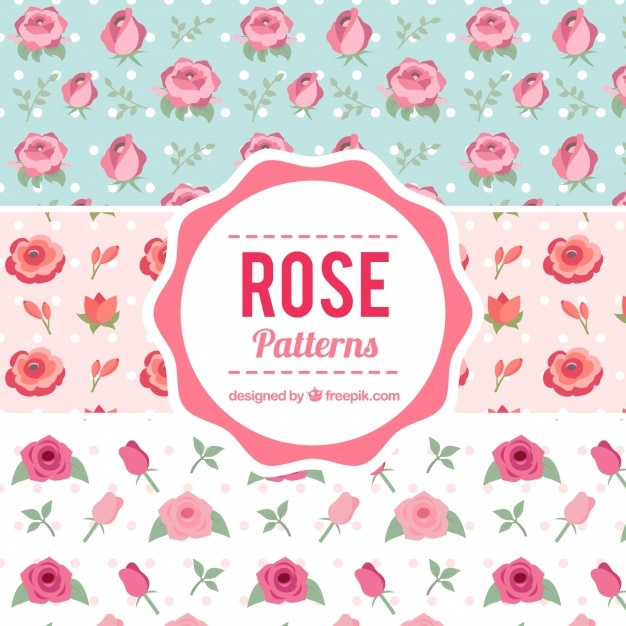 Decorative patterns with roses and dots