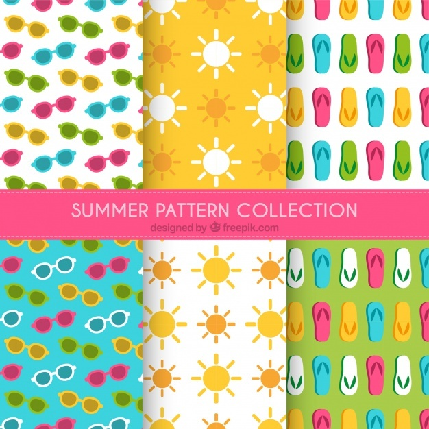 Decorative patterns collection of summer elements
